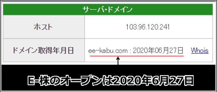 E-株のオープン日