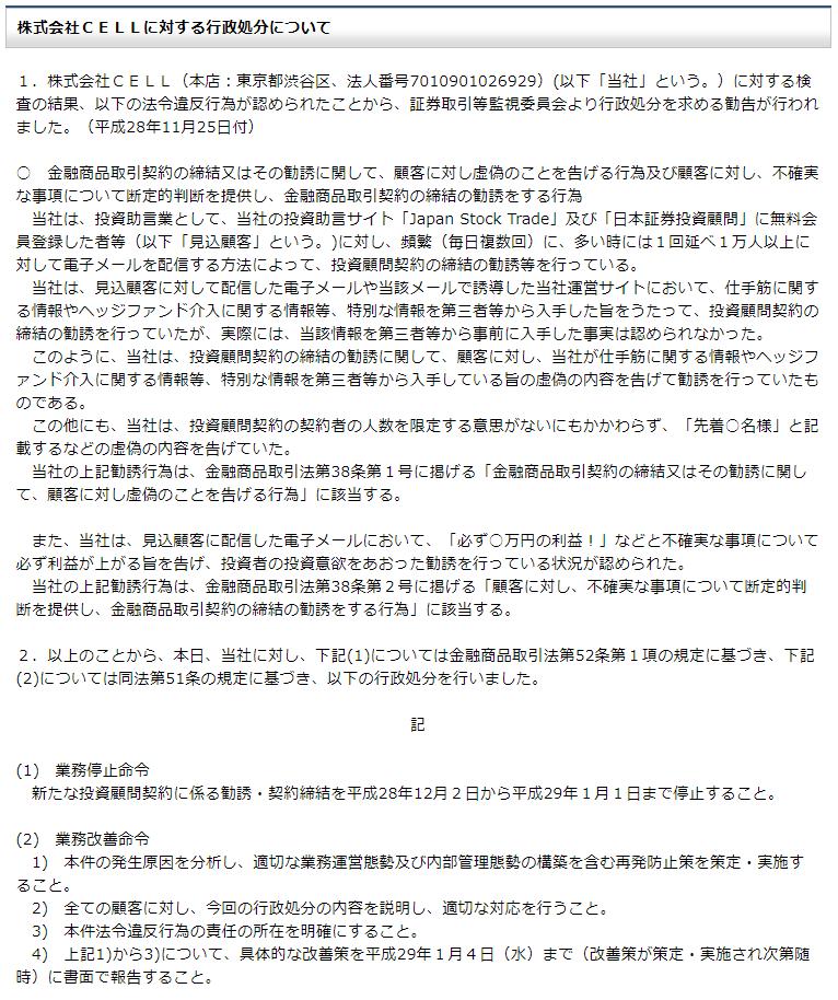 株式会社NEOの行政処分内容