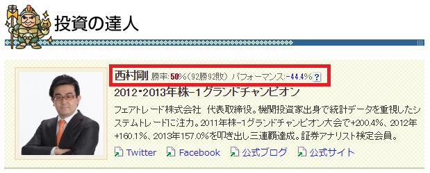 西村剛 Yahooファイナンス・投資の達人