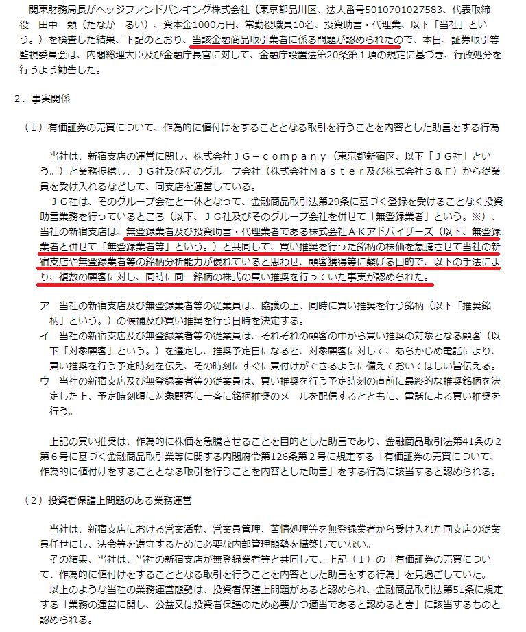 日本投資機構株式会社 行政処分